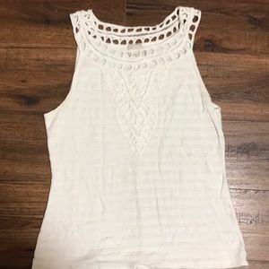 Anthropologie White Scroop neck